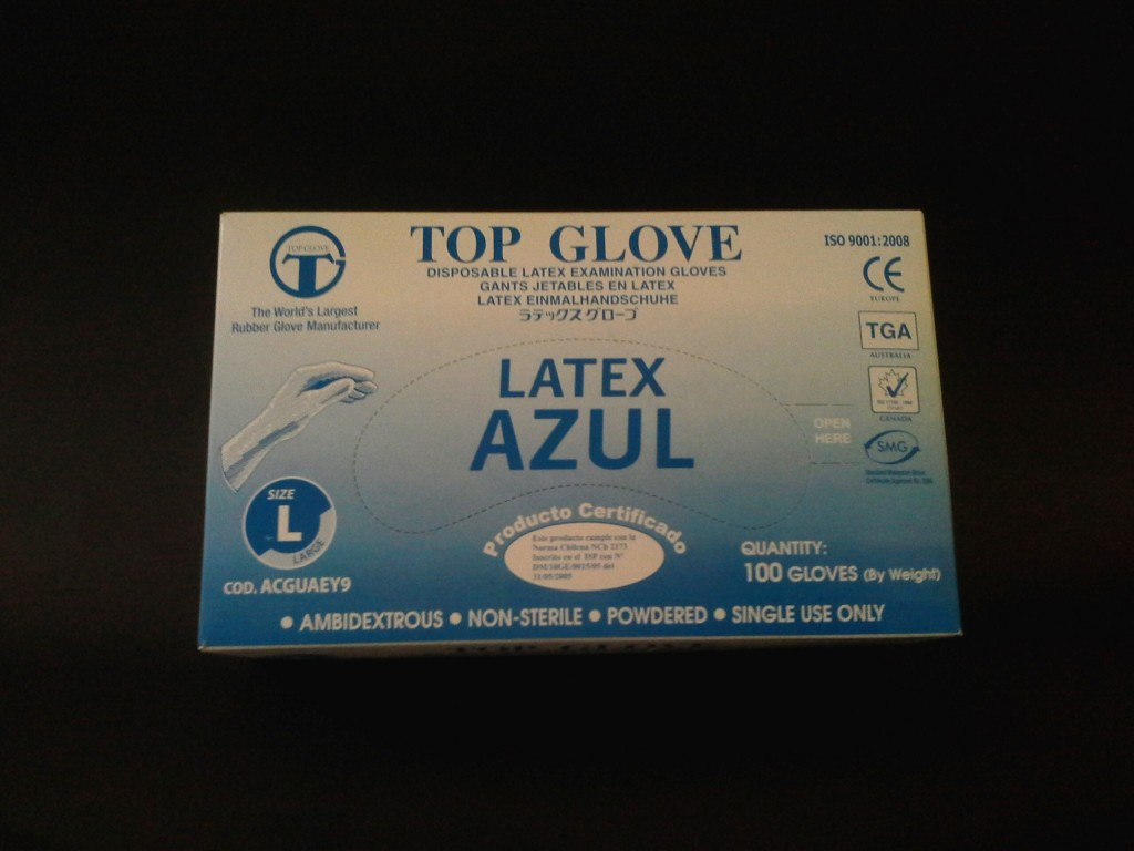Guante Latex Azul